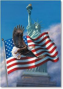 An All-American patriotic print-LIBERTY'S SILENT SCREAM by James Meger. A Bald Eagle, the Statue of Liberty, and the American Flag--all powerful symbols of our great country. The citizens of the Unite American Flag Eagle, American Pride, American History, American Spirit, Patriotic Pictures, Eagle Pictures, American Flag Pictures, I Love America, God Bless America