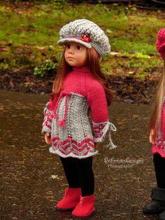 Hand-Knitted Dress & Newsboy Cap for Gotz Happy Kidz dolls by Debonair Designs #DebonairDesigns