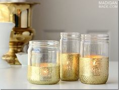 Gold Dipped Jars | Mason Jar Crafts Love