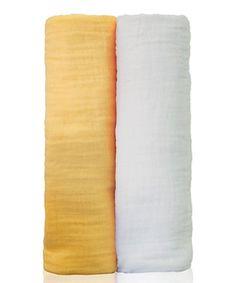Yellow & White Muslin Swaddling Blanket Set