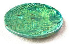 Green Metallic Jewelry Dish trinket bowl jewelry storage raku