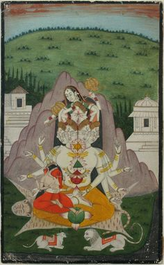 www.IndianMiniaturePaintings.co.uk - The Holy Family in tantric form: Shiva Panchmukha sits on a tiger skin, his consort Parvati covering all of his eyes with her hands to protect all from his incinerating gaze, his son Ganesha sits on his lap, in the foreground lie Shiva's vahana Nandi and Parvati's lion. Bengal, circa 1820. Opaque watercolour with gold on wasli. 25.7 x 15.7cm