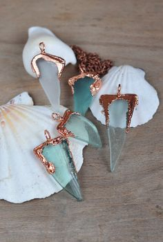 Sea Glass Pendant, Natural Sea Glass in copper frame, Seafoam Mermaid Jewelry, Geometric Seaglass Necklaces, OOAK handmade, electroformed
