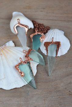Sea Glass Pendant, Natural Sea Glass in copper frame, Seafoam Mermaid Jewelry, Geometric Seaglass Necklaces, OOAK handmade, electroformed