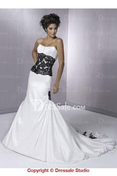 White And Black Wedding Dress Modern Bridal Gowns With Appliques Taffeta Mermaid Zipper Closure Floor Length Long() Sheer Wedding Dress, Black Wedding Dresses, Designer Wedding Dresses, Strapless Dress Formal, Wedding Gowns, Bridal Gowns, Damask Wedding, Wedding White, Lace Wedding
