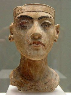 Head of a statue of Pharoah Tutankhamun from Amarna. XVlll Dynasty 1335 B.C. Neues Museum in Berlin.