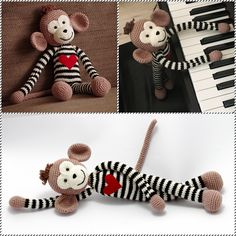 crochet monkey with big heart and black and white stripes