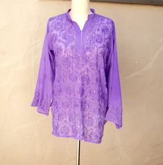 Cool & breezy vintage beaded tunic in Lavender! xo