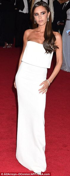 Best dressed @ 2014 Met Gala | Victoria Beckham in a white column strapless gown from her own label