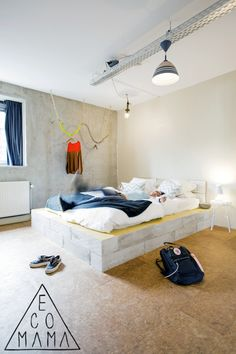 Concrete bed at @Ecomama Hotel! Read the full article about this #5StarHostel located in #Amsterdam at http://hostelgeeks.com/5-star-hostel-ecomama-amsterdam/