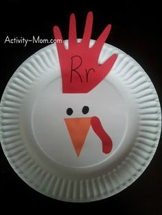 Rr is for Rooster Paper Plate Craft (from The Activity Mom)