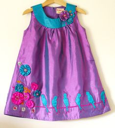 NEW-Couture satin dress 'Birds On A girls 5 6 -Purple colorway-handmade flowers-flower girl dress ETSY Little Dresses, Little Girl Dresses, Cute Dresses, Girls Dresses, Frock Patterns, Girl Dress Patterns, Toddler Fashion, Girl Fashion, Bird Dress