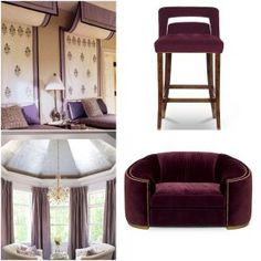 Many shy away from purple thinking it will be overpowering but when balanced with the right decor it can create a relaxing environment. Window Coverings, Ultra Violet, Windows, Color, Furniture, Home Decor, Homemade Home Decor, Colour, Window