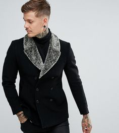Noose & Monkey Peacoat With Faux Fur Collar
