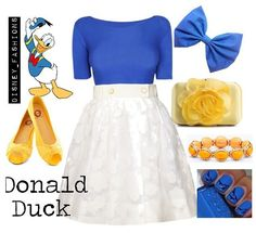 Donald duck :) disney outfits :) all it needs is a red accent necklace. Or maybe make the bow red instead Disney Character Outfits, Cute Disney Outfits, Disney Themed Outfits, Disney Princess Outfits, Character Inspired Outfits, Disney Dresses, Cute Outfits, Disney Clothes, Disney Fancy Dress Women