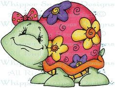 Floral Turtle - Reptiles - Animals - Rubber Stamps - Shop