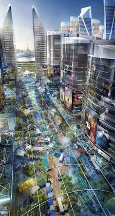 Rede de ruas comerciais com controle climático. Cortesia de Dubai Holding