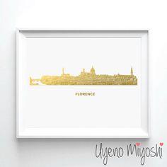 Florence Skyline Gold Foil Print, Gold Print, Map Custom Print in Gold, Illustration Art Print, Florence Italy Skyline Gold Foil Art Print by UyenoMiyoshi on Etsy https://www.etsy.com/listing/226396839/florence-skyline-gold-foil-print-gold