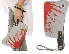 ตอรอง AB381 VIDEO Bold Bloody Cleaver Clutch Purse Punk Novel...