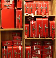 The motherlode of vintage red luggage! Color Explosion, I See Red, Vintage Suitcases, Vintage Luggage, Simply Red, Hat Boxes, Red Aesthetic, Color Of Life, World Of Color