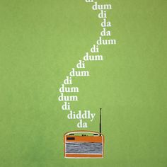 The 'words' (much deliberated over, one of the fans I asked sang 'rumpty dumpty dumpty da.') to the iconic The Archers theme tune drift out of a vintage Roberts radio. I combined my hand-drawn image of a vintage Roberts radio with typography using t.