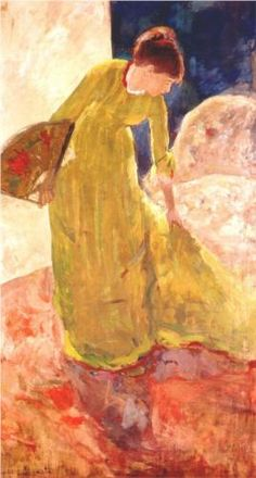 "'Woman Standing, Holding a Fan,' Mary Cassatt; part of the ""Degas/Cassatt"" exhibit at the National Gallery of Art, Washington DC, U. Mary Cassatt, Monet, Kunst Online, Pierre Auguste Renoir, Pierre Bonnard, Edouard Manet, Edgar Degas, Oil Painting Reproductions, Beautiful Paintings"