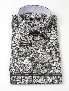 Giordano zwart en wit met aparte bloemen minder getailleerd overhemd - ModaOnline.nl, Italiaanse overhemden: herenkleding & dameskleding