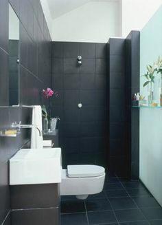continuous tile for tiny bathroom