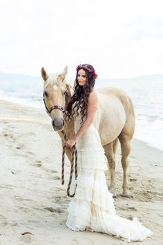 Our bohemian beach wedding in Queensland, Australia. We got a horse to visit for some pics. Dress by Yolancris for sale! More pics at http://muuttolintu.com/2015/11/22/meidan-rantahaat-australiassa/
