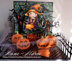 From our Design Team! Card by Anne-Maree Campbell featuring NEW Witch Molli and these NEW Dies - Cobweb, Broom, Bare Branches, Crows.  Old Dies: Tombstones, Pumpkins, Scary Tree :-)  Shop for our products here - lalalandcrafts.com  Coloring details and more Design Team inspiration here - http://lalalandcrafts.blogspot.ie/2016/08/halloween-release-showcase-day-2.html