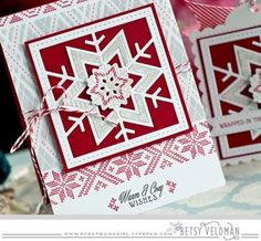 handmade Christmas card ... die cut snowflake quilt block ... luv the red, gray and white ...