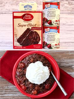 Easy dessert recipes quick easy This Black Forest dump cake recipe is such a yummy dessert that you need to add to your menu Black Forest Dump Cake Recipe, Easy Black Forest Cake, Poke Cake Recipes, Dessert Recipes, Frosting Recipes, Fall Desserts, Delicious Desserts, Homemade Desserts, Betty's Pies