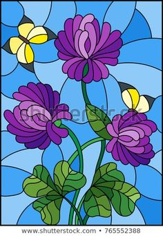 Illustration in stained glass style with bouquet of purple clover and yellow butterflies on a sky background Illustration , Modern Stained Glass, Faux Stained Glass, Stained Glass Windows, Stained Glass Tattoo, Stained Glass Quilt, Mosaic Art, Mosaic Glass, Purple Tattoos, Stained Glass Patterns Free