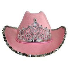 55e74bee2f3 Luxury Divas Fancy Pink Felt Cowboy Hat With Tiara - For McK maybe