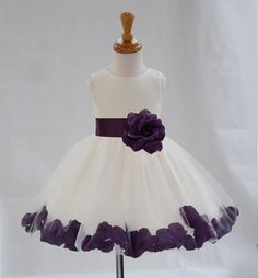 Ivory Tulle Knee Length Color Rose Petals Flower Girl Dress Wedding Pageant Special Occasions 306T1