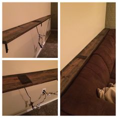 My husband and I made this behind the couch table and added two outlets. Both of which were pins I had found. Turned out great and we love it! We started with a 1x8, 10 ft. piece of common wood. We put 3 L-brackets on the bottom to evenly support it. Next we used a jigsaw to cut out the holes for the outlets. The outlets were made using an outlet and an extension cord. You cut off the end of the extension cord that you can plug things into, leaving the pronged end. Then you separate the two…