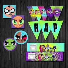 "INSTANT DOWNLOAD - Teen Titans Go, Teen Titans  * 2"" Cupcake Toppers or 2"" x 2"" Party Tags * Banner Pennants with 6 Different Designs to choose from - approx. 8"" x 10"" * Water Bottle Labels 5 Differen"