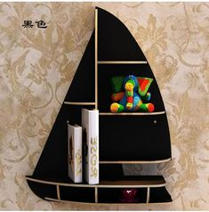 TangFeii Wall Shelf Sailboat Floating Wall Mounted Shelves Wooden Wall Storage for Bedroom Office Kitchen Living Room Wall Decoration Rack (Color : Black, Size : Cnc Plasma, Routeur Cnc, Cnc Router, Wall Shelves Design, Wall Mounted Shelves, Wood Projects, Woodworking Projects, Cnc Woodworking, Boat Shelf