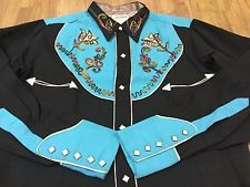 Vintage 1950s Cowboy Joe Rayon Western Shirt Deadstock Rare! Embroidered Silver
