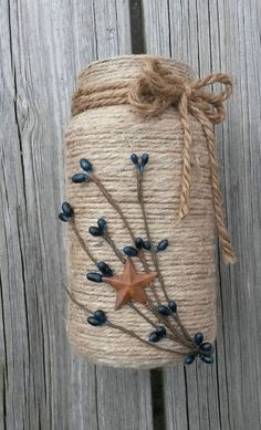 Handmade Jute Twine Wrapped Rustic Prim Mason Jar with Pip Berries