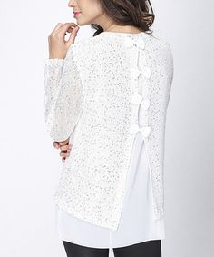 Look what I found on #zulily! White Sequin Layered Bow-Back Tunic #zulilyfinds