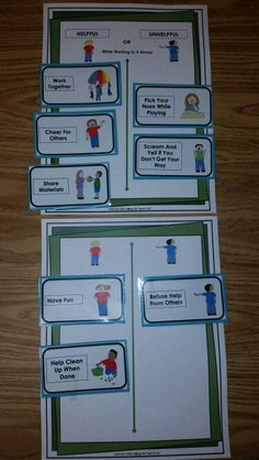 Is It, Helpful or Unhelpful? Group Behavior: sample behavior chart for younger kids. Interactive Group Work and Play Behavior Activity. This interactive behavior activity is a great way to teach children the necessary behaviors to successfully work or play well when in a group.