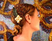 Classy pheasant fascinator with vintage earring