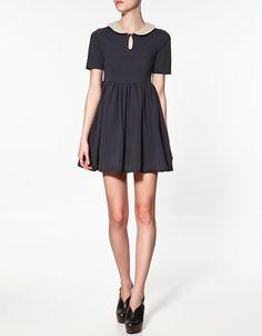 CONTRASTING COLLAR DRESS - Dresses - Woman - ZARA United States