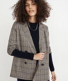 Plaid Blazer, Blazer Jacket, J Crew Outfits, Love Label, Denim Shoes, Double Breasted Blazer, Well Dressed, Autumn Winter Fashion, Madewell