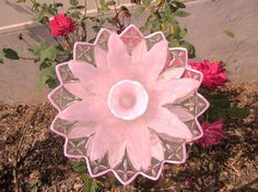 glass garden flower garden gift plate flower yard art home