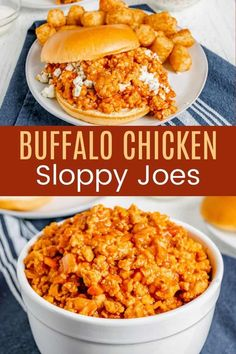 Buffalo Chicken Sloppy Joes - your favorite easy dinner sandwich with the spicy wing flavor you crave in a healthy recipe you can make even on busy weeknights! Serve it the classic way on a roll, or get creative and make stuffed potatoes, lettuce wraps, salads, and more. Don't forget the Ranch or blue cheese dressing! Gluten Free Recipes For Dinner, New Recipes, Dinner Recipes, Amazing Recipes, Dinner Ideas, Favorite Recipes, Chicken Sloppy Joe Recipe, Sloppy Joes Recipe, Chicken Recipes