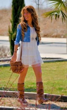 Boots. jacket. dress. country. <3