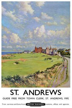 vintage travel posters scotland | ... Vintage St. Andrews Scotland Railway Travel Tourism Poster Re-Print A4