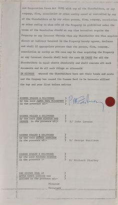 Beatles Sales Document for Apple Corp Building Featured in Marvels of Modern Music Auction May 19